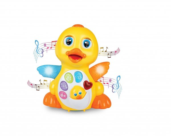 Toys N Smile Dancing Flapping Musical Eductaional Duck Toy with Light Action and Adjustable Volume Control for Kid