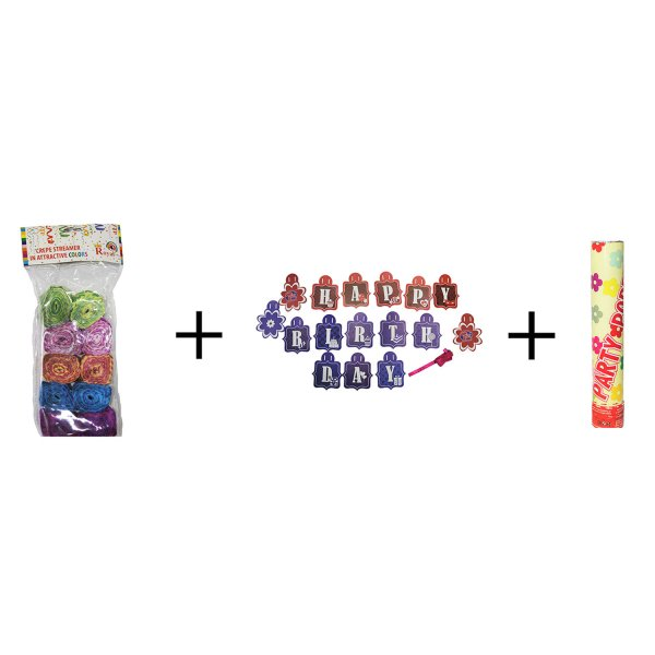 TTOYS BIRTHDAY CELEBRATION COMBO (1 birthday banner+1 party popper+ 10 crap rolls)
